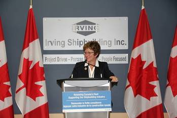 File The Hon. Diane Finley: Photo credit Irving Shipbuilding