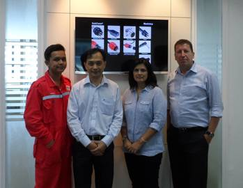 File The MacArtney Singapore Team - From left to right Workshop Technician Akmal Syafiq Bin Marzuki, Item Sales Manager Tan Chew Leng, Office Manager Nafisa King and Channel Sales Manager Steen Frejo. Photo: MacArtney
