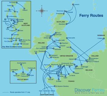 File UK ferry routes: Map courtesy of Discover Ferries