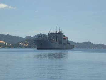 File Military Sealift Command dry cargo/ammunition ship USNS Richard E. Byrd at anchor in the port of Cam Ranh Bay, Vietnam.