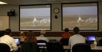 File SPAWAR Personnel Watch the Cape Canaveral Launch: Photo credit USN