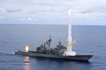 File USS Cowpens Missile Shoot: Photo credit USN
