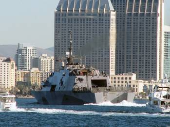 File USS Freedom arrives San Diego: Photo credit USN