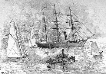 File USS Jeannette (1879-1881) Engraving after a sketch by H.A. Ogden, depicting Jeannette leaving San Francisco, California, on July 8, 1879 to begin her Arctic expedition. (U.S. Naval Historical Center Photograph.)