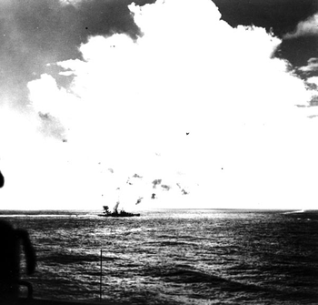 File USS Juneau (CL-52) firing on attacking Japanese aircraft during the Battle of the Santa Cruz Islands, 26 October 1942. Official U.S. Navy Photograph)