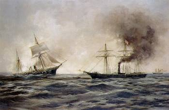 File USS Kearsarge vs. CSS Alabama. Painting by Xanthus Smith, 1922, depicting Alabama sinking, at left, after her fight with the Kearsarge (seen at right). (Courtesy of the Franklin D. Roosevelt Library, Hyde Park, New York. Official U.S. Navy Photograph.)