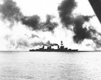 File USS Salt Lake City (CA-25) web during the Battle of the Komandorski Islands (Official U.S. Navy Photograph, now in the collections of the National Archives.)