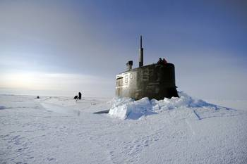 File USS Seawolf surfaced in ice: Photo credit USN