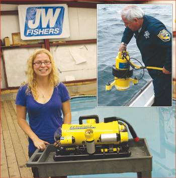File University of Maine graduate student Jennifer McHenry at Fishers factory with SeaLion-2 ROV