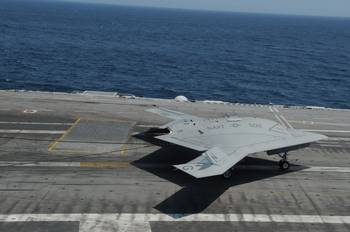 File Unmanned X-47B on flight deck: Photo credit USN