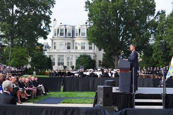 File President Obama at the memorial service: Photo credit USN
