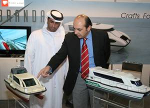 File Models of water taxis and water buses on display at the Middle East Workboats exhibition and conference taking place in Abu Dhabi.