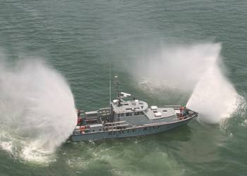 File The boat offers a fire fighting system  with one remote controlled fire monitor station at the bow and two manual stations on the stern of the boat capable of shooting water 250 ft. @ 100 psi and 145ft. @ 100 psi.