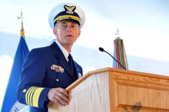 File Adm. Paul Zukunft speaks during a change of command ceremony at Coast Guard Headquarters in Washington May 30, 2014. Zukunft relieved Adm. Bob Papp to become the 25th commandant of the Coast Guard. (U.S. Coast Guard photo by Petty Officer 2nd Class Patrick
