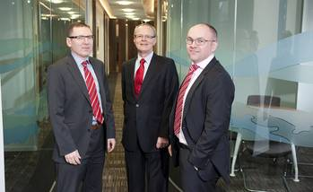 File The Stewart Group's management includes (from left to right): Director Andrew Miller, Non-Executive Chairman Bill Budge and Managing Director Paul Love. (Photo: The Stewart Group)
