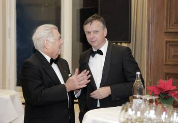 "File ""He is one of the most remarkable and best known personalities of the cruise industry with an unmatched footprint set. An honorable merchant departs""    Michael Thamm (right) CEO Costa Crociere, said at Jochen Deerberg's  (left) Farewell Dinner, December 12, 2015, at Oldenburg Castle. (Photos: Elke Röbken)"