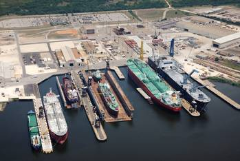 File BAE Systems' Mobile shipyard is adjacent to the 42 foot deep ship channel on Mobile Bay with direct access to and from the GOM.