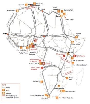 File Major port projects & logistics: Map credit PwC