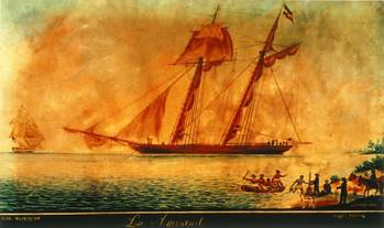 File USS Washington Intercepts La Amistad off the Coast of Long Island, N.Y. in 1839. Photo: New Haven Colony Historical Society