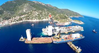 File Dutch crane barge Conquest MB1 assists salvage operations for the refloat of Costa Concordia (Photo courtesy of Conquest Offshore)