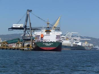 File file image, container ships at port of Oakland (courtesy: Captain Katharine Sweeney)