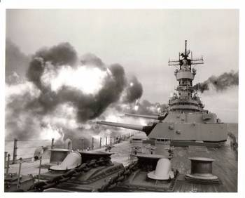 File USS Iowa in Action: Photo credit USN