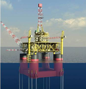 File 3D Model of TLP Hyundai Heavy Industries (HHI) received a letter of award for a $1.3B order for a floating production unit (FPU) and a $700m order for a tension leg platform (TLP) from Total E&P Congo. HHI will carry out engineering, procurement, supply, construction, and commissioning for the two offshore facilities to be deployed in Moho Nord field, 80 km off Republic of the Congo's coast. The 14,600-ton vertically moored floating TLP will be used to extract oil and natural gas, and transport