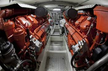 File Engine room of a sea rescue boat powered by two Scania 16-liter marine engines, V8. (Photo: Dan Boman)