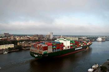 File The Georgia Ports Authority moved more than 3 million twenty-foot equivalent container units (TEUs) in fiscal year 2014. Exports accounted for just over half of containerized tonnage.