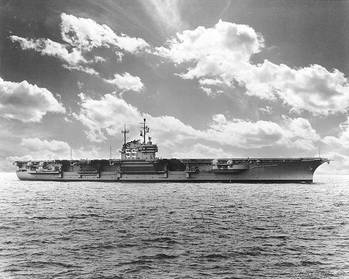 File USS Forrestal (CVA-59) photographed by W.F. Radcliff, 1955. (U.S. Naval Historical Center Photograph)