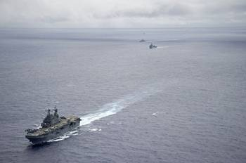 File U.S. Navy amphibious assault ship USS Peleliu during an exercise in the Pacific Ocean, June 23, 2014. Peleliu will participate in Rim of the Pacific (RIMPAC) 2014. (U.S. Navy photo by Daniel Viramontes)