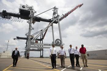 File President Barack Obama tours the Jacksonville Port Authority, accompanied by (from left) Transportation Secretary Anthony Foxx; Dennis Kelly, TraPac Regional VP & General Manager; Roy Schleicher, CEO, Jacksonville Port Authority; and Fred Wakefield, International Longshoreman