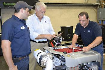 File Left to right: Blake Nagim, Rick Granger and Jesse Cuevas participating in the Steyr Motors training session