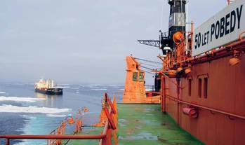 File MV Nordic Barents and icebreaker 50 Years of Victory (Photo courtesy Lloyd