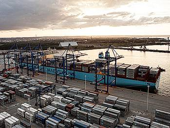 File Maersk Triple E ship in port (Photo courtesy of Maersk Line)