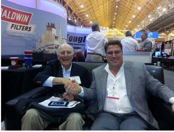 File Captain Brian A. McAllister, Chairman McAllister Towing and Travis Short, President Horizon Shipbuilding at the 2015 International Workboat Show.