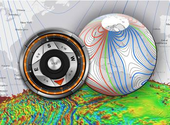 File The WMM is a large-scale representation of Earth's magnetic field. The blue and red lines indicate the positive and negative difference between where a compass points the compass direction and geographic North. Green lines indicate zero degrees of declination. (Credit: NOAA)