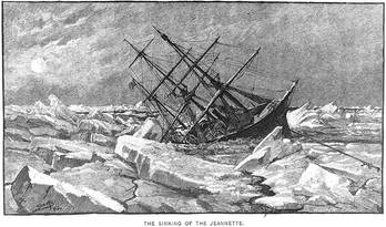 "File ""The Sinking of the Jeannette,"" Engraving by George T. Andrew after a design by M.J. Burns. (U.S. Naval Historical Center Photograph.)"