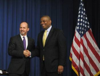 File TOTE President and CEO Anthony Chiarello (left) with U.S. Secretary of Transportation Anthony Foxx