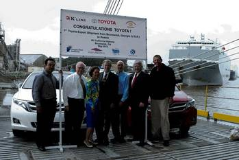 File Officials celebrated the first Toyota Venzas exported from the Port of Brunswick today. Left to right: Yuji Tomokiyo, Senior Executive Coordinator for Toyota; Bill Dawson, GPA