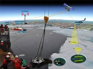 File RDC personnel and partners will build on prior Arctic research projects including the 2012 deployment of a skimmer designed for recovering oil from ice off the coast of Barrow, Alaska. U.S. Coast Guard illustration.