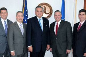 File From left to right: U.S. DOT Deputy Secretary John Porcari, MARAD Administrator David Matsuda, Secretary Ray LaHood, Photo courtesy MARAD, Superintendent of the U.S. Merchant Marine Academy Admiral Philip H. Greene, Jr., Deputy MARAD Administrator Orlando Gotay. (Photo courtesy MARAD)