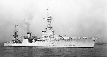 File USS Houston photographed during the early or middle 1930s. (U.S. Naval Historical Center Photograph.)