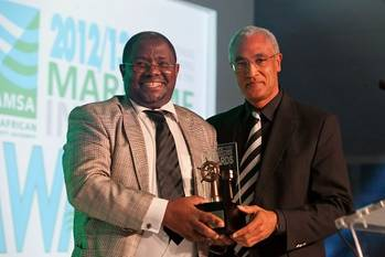 File Seen in the photo from left to right are Chris Magagula Managing Director at Wabona Group and Paul Maclons Managing Director at Smit Amandla Marine. Wabona Group was a proud recipient of the 2012/2013 Maritime Industry New Comer Award presented by Smit Amandla Marine at an awards ceremony in Cape Town. (Photo: Wabona)