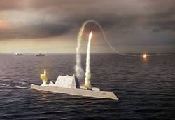 File An artist rendering of the Zumwalt class destroyer DDG 1000, a new class of multi-mission U.S. Navy surface combatant ship designed to operate as part of ajoint maritime fleet, assisting Marine strike forces ashore as well as performing littoral, air and sub-surface warfare. (U.S. Navy photo illustration/Released)