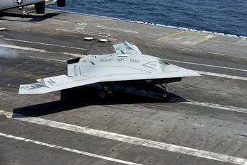 File X-47B Aircraft on deck: Photo credit USN