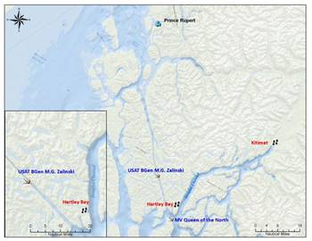 File Location of Shipwreck: Map courtesy of Canadian CG