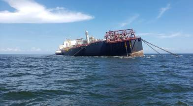 The FSO Nabarima listing in the Gulf of Paria on O