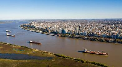 Aerial shot over Parana River in Front of Rosario
