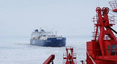 File photo: The world's first icebreaking LNG carr